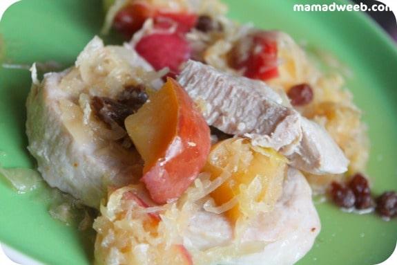 Sauerkraut and Apple Pork Loin Chops #recipe