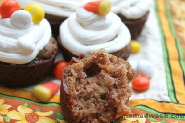 Candy-topped Carrot Cupcakes with Cool Whip Frosting!
