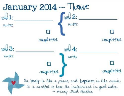 January 2014 Goal printable