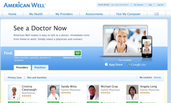 american well the doctor will e see you now American well is paving the way for instantaneous communication between patients and physicians via digital platforms accessed through computers, tablets, and smartphones their service.