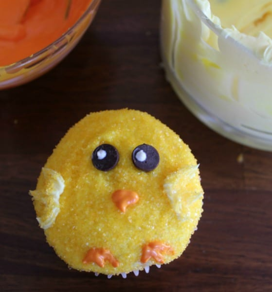 A yellow chick easter cupcake