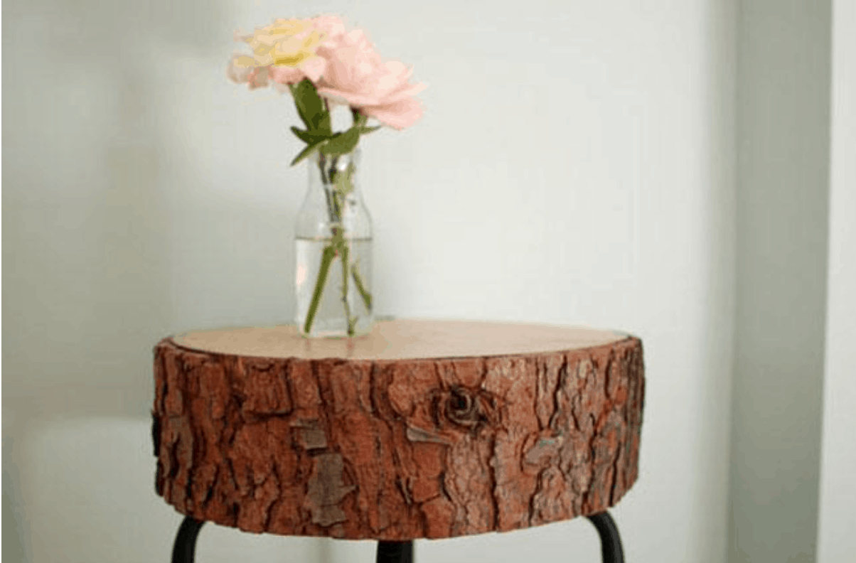 Tree Stump Stool With flower on top