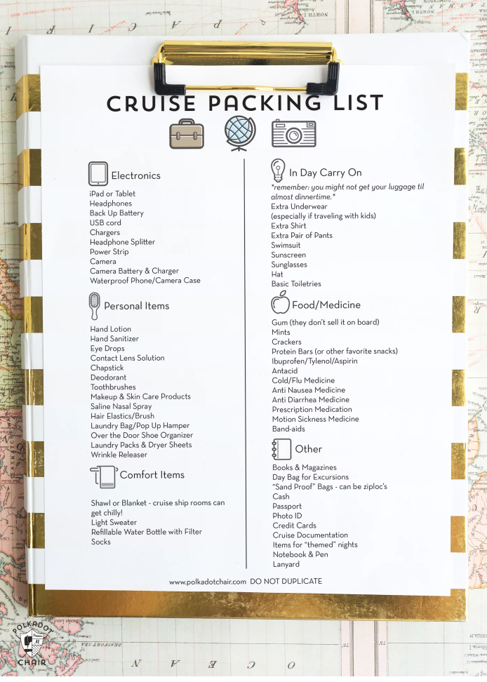 Simple Cruise Packing List from Polka Dot Chair
