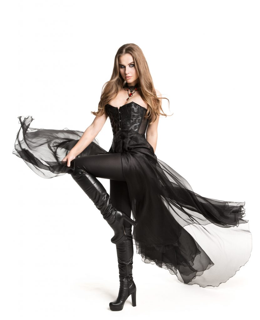 a woman in a gothic gown with a corset