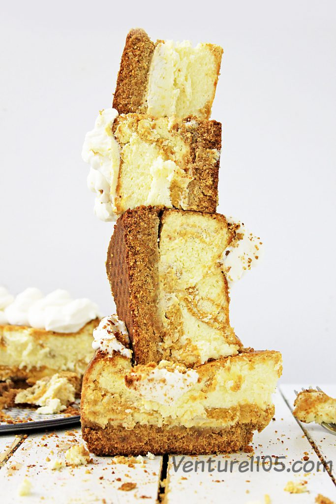 A stack of pumpkin cheesecake slices