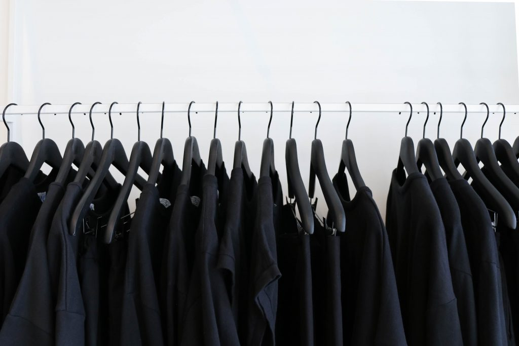 black shirts on hangers