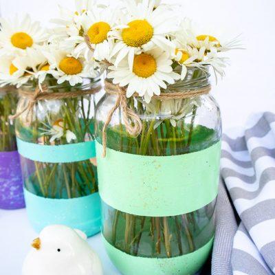 Easy Summer Glitter Painted Mason Jars